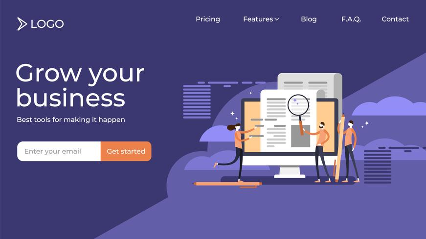 Press release copywriting flat tiny persons vector illustration sales landing page template design