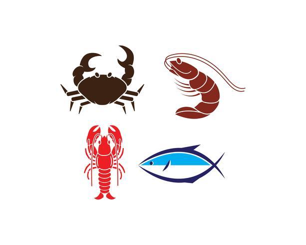 seafood icon set vector