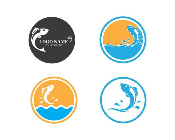 Conjunto de iconos de logo de pescado vector