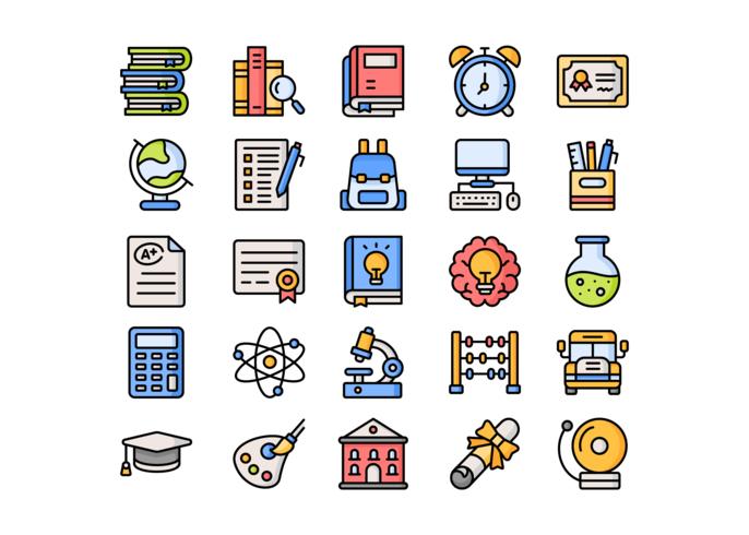 Iconos de la escuela - línea llena vector
