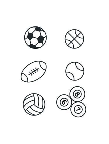 pelotas de deporte en blanco vector