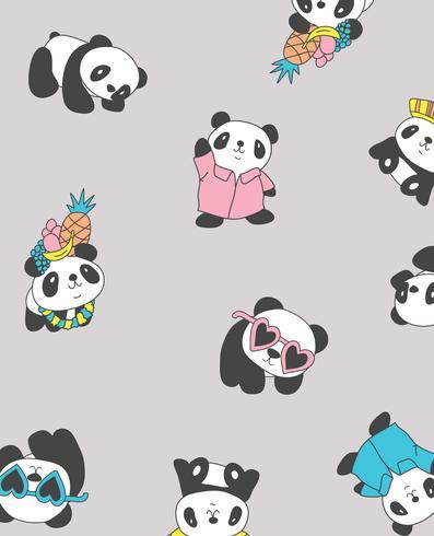 Hand getekend schattig verschillende stijl panda's patroon ontwerp vector