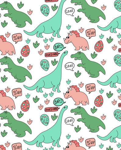 Hand getekend schattig dinosaur patroon ontwerp vector