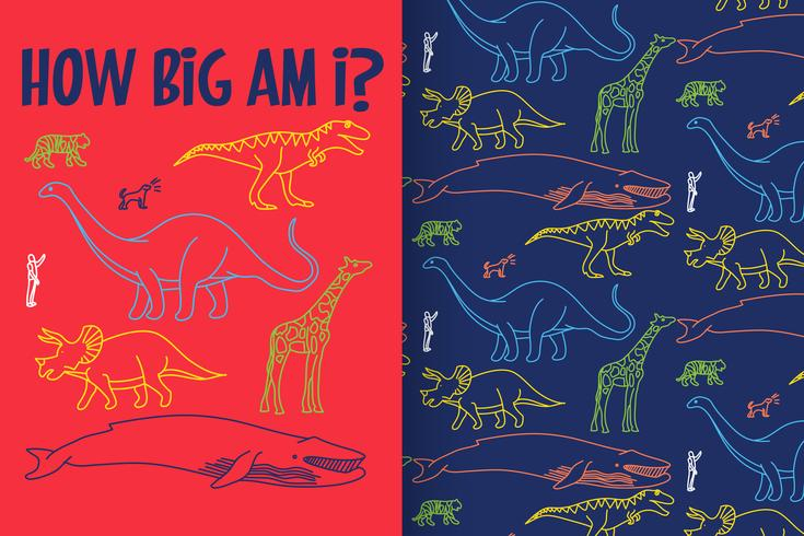 How Big Am I Hand drawn Dinosaur with pattern set vector