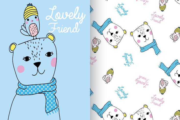 Conjunto de patrones dibujados a mano de Lovely Friend vector