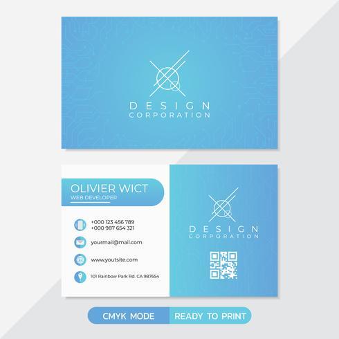 Business card technology set vector