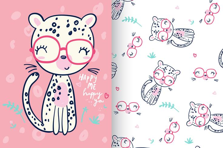 Happy cheetah with pattern set