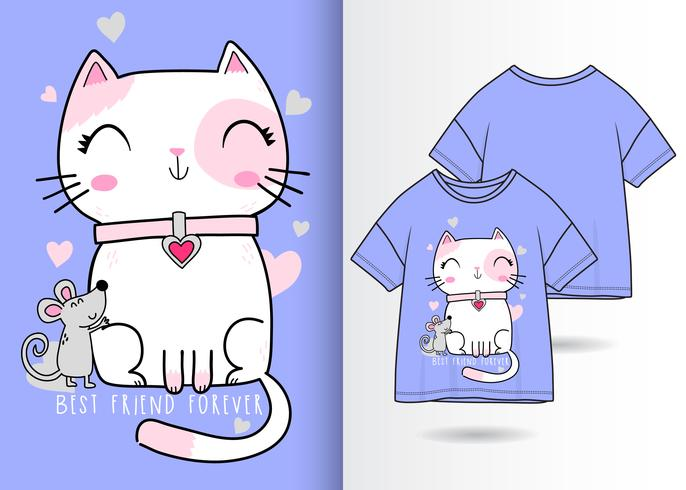 Hand drawn cute kitty with mouse