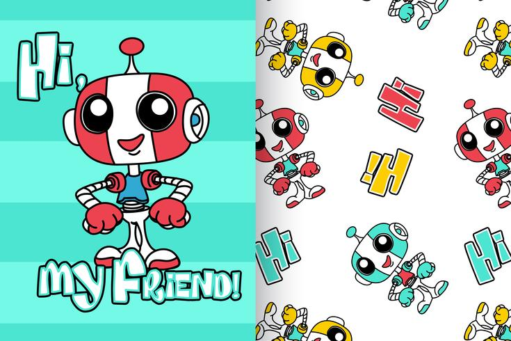 Hi My Friends Robot Hand Drawn Pattern vector