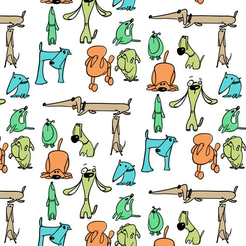 Hand drawn colorful silly dog pattern