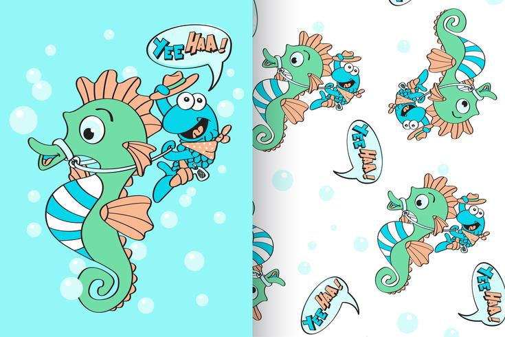 seahorse with pattern set vector