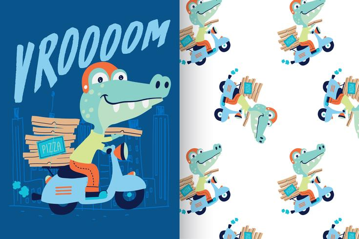 Vrand drawn cute crocodile with pattern set