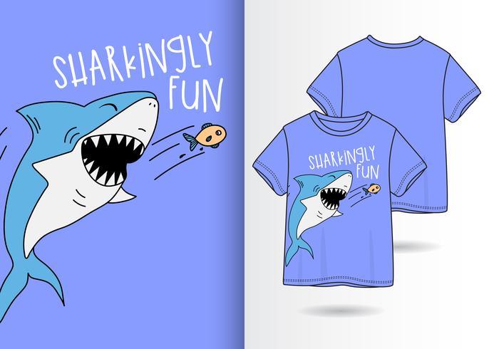 Hand drawn cute shark t-shirt design vector