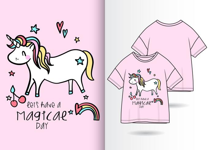Hand drawn cute unicorn t-shirt design vector