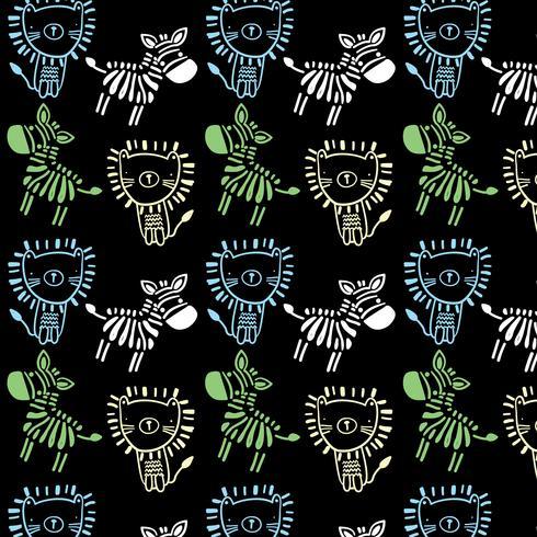 Linea semplice disegnata a mano leone e zebra pattern
