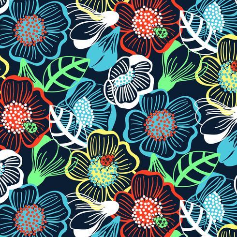 Disegnato a mano audace motivo floreale colorato stampa di grandi dimensioni