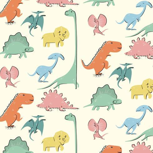 Hand getekend kleurrijk retro dinosauruspatroon vector