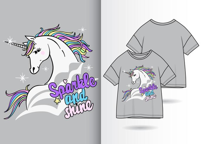 Simpatico design a t-shirt con unicorno magico