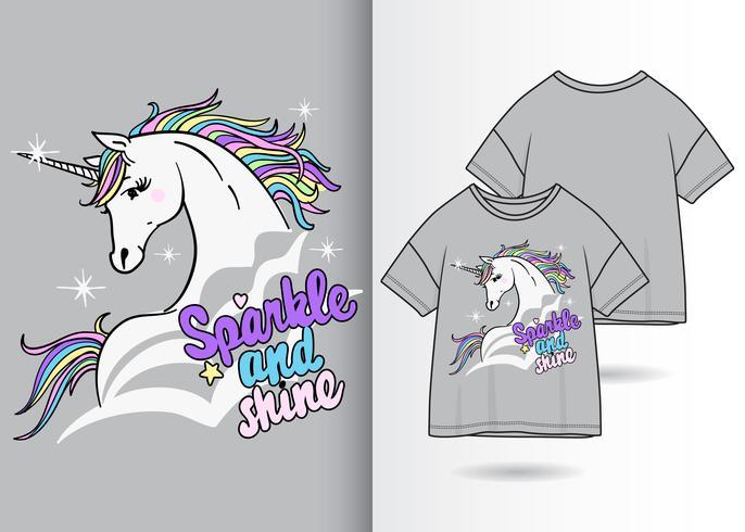 Cute magical unicorn  t-shirt design
