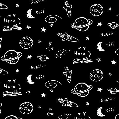 Padrão de galáxia de espaço preto e branco de mão desenhada vetor