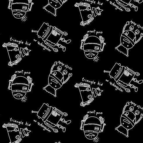 Modello di robot linea bianca disegnata a mano