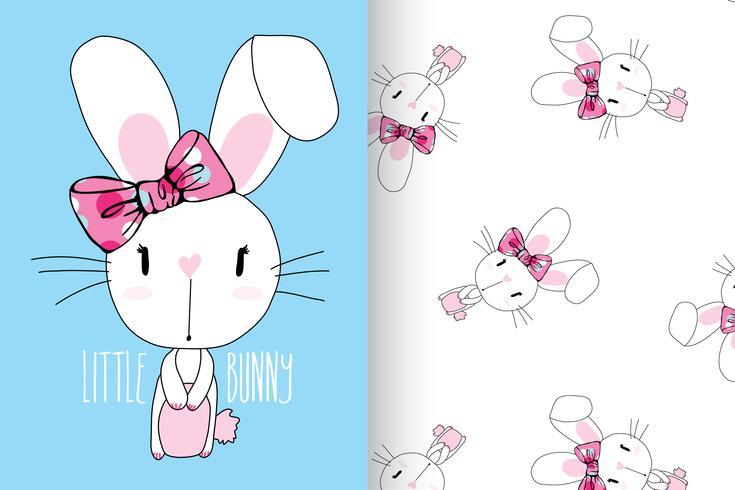 Coniglietto disegnato a mano coniglietto carino con set di pattern
