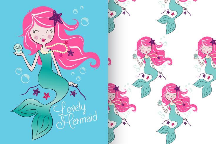 mermaid with pattern set vector