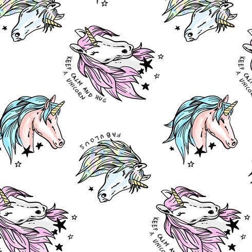Disegnato a mano pastello modello testa di unicorno