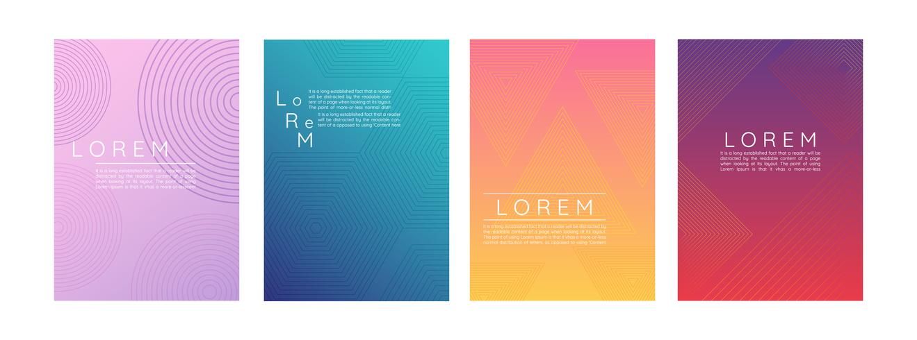 Set of Gradient Abstract Posters  vector
