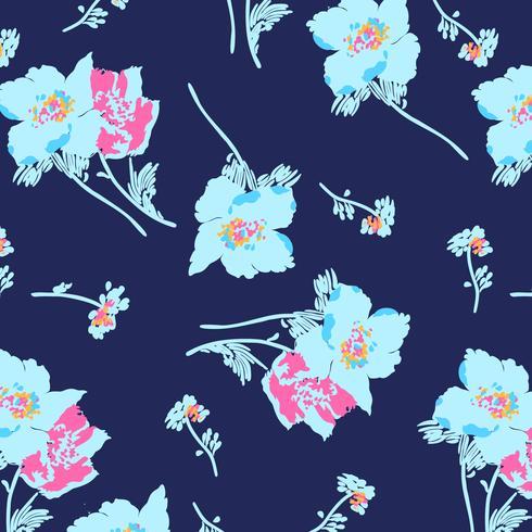 Hand getekend vet heldere grote bloemen bloesem patroon