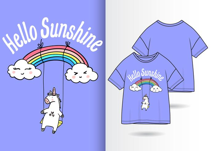 design t-shirt arcobaleno unicorno