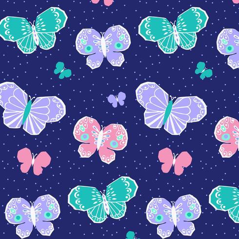 Reticolo di farfalla rosa viola pastello disegnato a mano