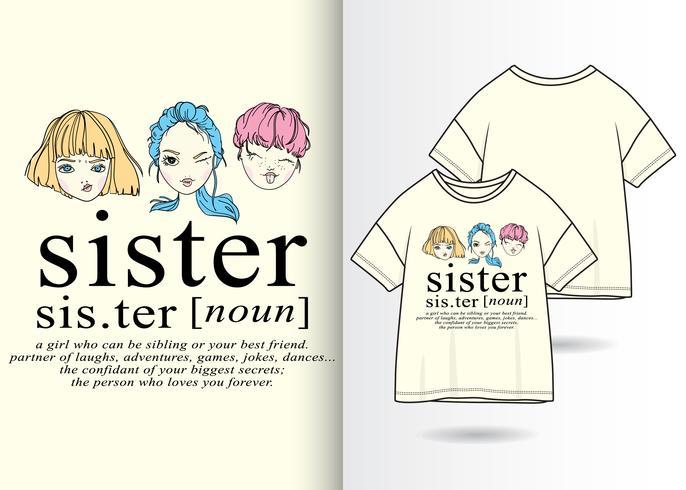 Hand drawn cute sisters  vector