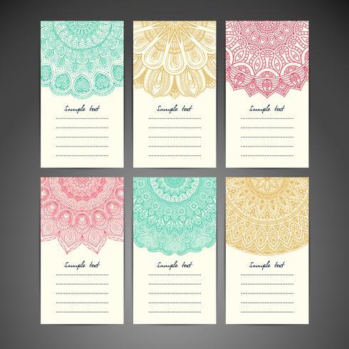 Conjunto de tarjeta de nota Mandala vector