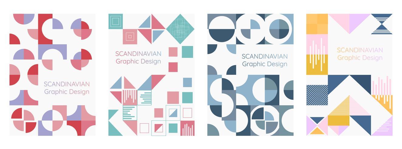 Scandinavian geometry modern style poster set vector