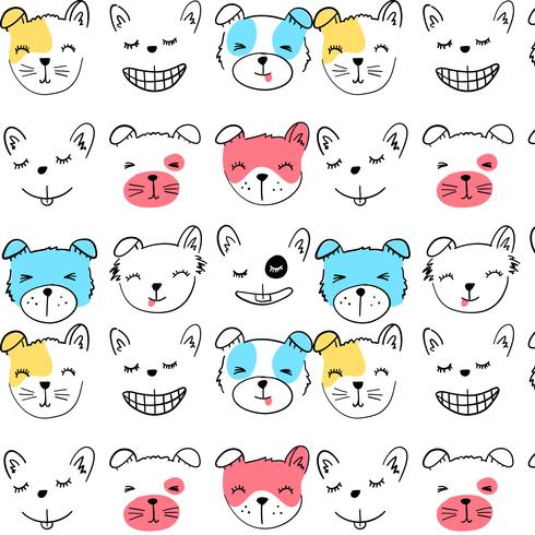 Hand drawn smiling happy dog face pattern