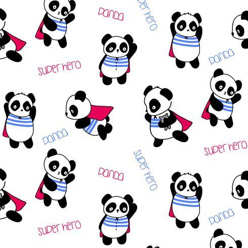 Disegnato a mano modello supereroe panda