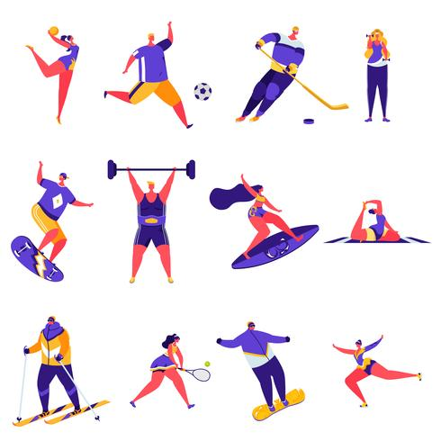 Conjunto de personajes de actividades deportivas de personas planas vector
