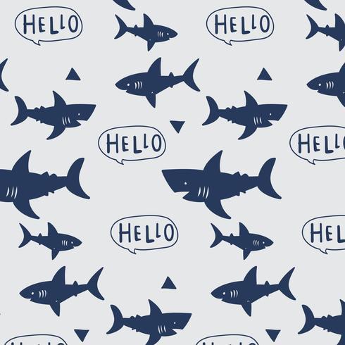Modello di squalo stampa semplice disegnato a mano