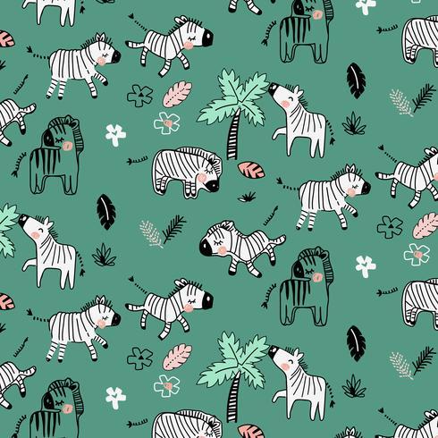 Zebra disegnata a mano nel modello della natura