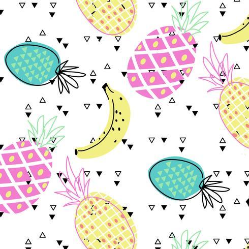 Reticolo di frutta tropicale brillante disegnato a mano