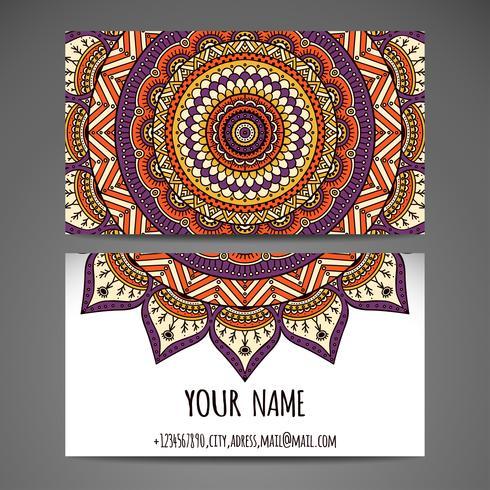 Hand Drawn Mandala Business Card  vector