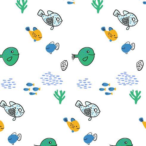 Modèle de natation de poissons heureux dessinés à la main