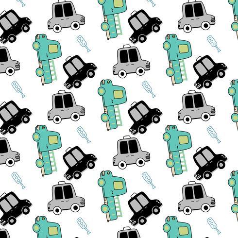 Handritad taxa- och bussmönster för enkel form vektor