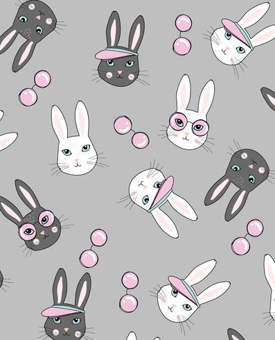 Chic Rabbit Pattern  vector