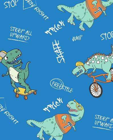 Patrón de dinosaurio monopatín vector