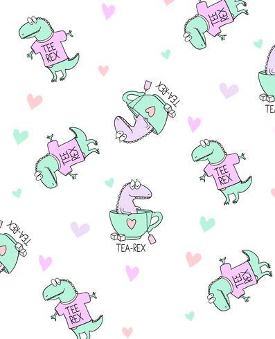 Patrón de dinosaurio dibujado a mano vector