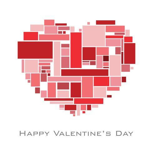 Cuore con rettangoli casuali in tomo rosso per San Valentino