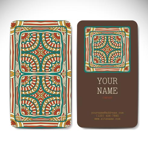 Business Cards in ethnic style. Vintage decorative elements.