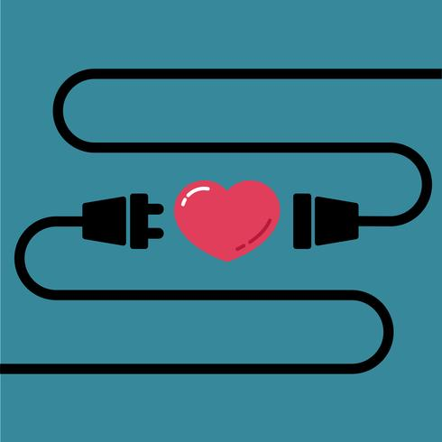 Male and Female plug to connect for love and heart for Valentine's day
